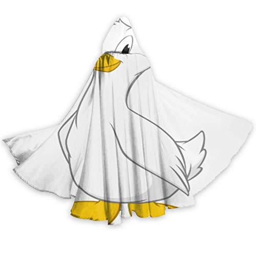 ZHANGhome Netter lustiger Fetter Kleiner weißer Gans-Mantel-mit Kapuze Kap-Mann-mit Kapuze Mantel 59inch für Weihnachten Halloween Cosplay Kostüme