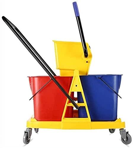 ZXCVBNN Magic MOP, Cubo con Ruedas 34L Cubo de trapeador Doble con trapeador de Escritura Adecuado para la Industria
