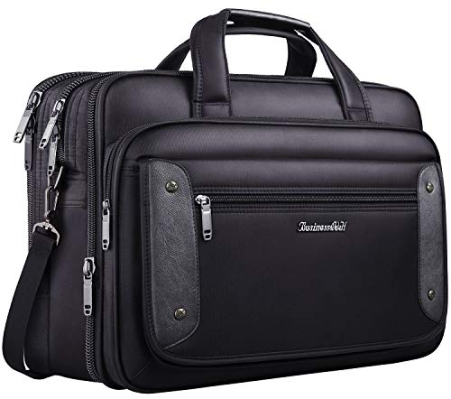 17.3 inch Laptop Bag, Business Travel Bag for Men Women, Expandable Large Hybrid Shoulder Bag, Waterproof Carrying Case Fits 17 15.6 Inch Laptop, Computer, Tablet-Black