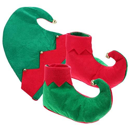 Sarari Disfraz de elfo de Navidad, zapatos de Papá Noel, sombrero, disfraz, disfraz para niños y niñas, año nuevo, fiesta, elfo, camiseta, zapatos, sombrero, accesorios para niños