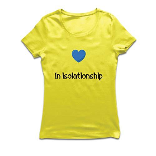 lepni.me Camiseta Mujer En Aislamiento - Relación Romántica Virus Cuarentena (X-Large Amarillo Multicolor)