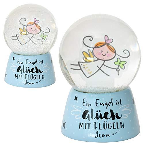 Die Geschenkewelt Happy Life 46151 Traumkugel Schutzengel, Ein Engel ist Glück mit Flügeln, Hellblau Schneekugel, Glas, Polyresin, Höhe circa 6 cm