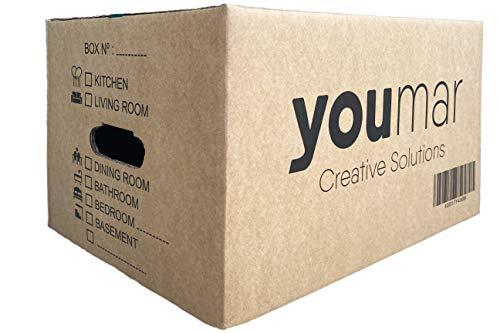 Youmar Solutions – 12 Umzugskartons (Größe M) mit Griffen, extra stark – 44 x 30 x 25 cm, schweres Gewicht 600 g/m², kombinier.