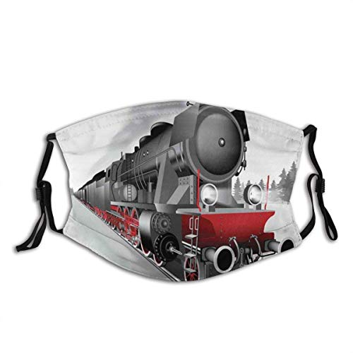 Adult Mask Locomotive Red Black Train with Headlights On Steel Railway Track Graphic Print Fabric Cotton Face Masks Washable Cloth Masks for Men Women Cycling Camping Travel