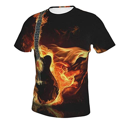 Men's Shirts Short Sleeve Henley Shirt Tees Basic Tucked Daily Wear Music Fire Guitar XL