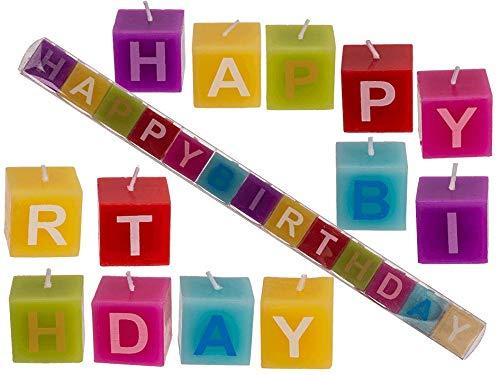 Geburtstagskerzen Happy Birthday | Farbiger Kerzenblock in Premium Qualität | Kerzen Set ideal für den Geburtstag geeignet für Erwachsene & Kinder
