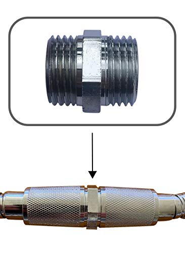 Shower Hose Extension - Shower Hose Extender - Easily Connects Two Shower Hoses Together - Solid Brass