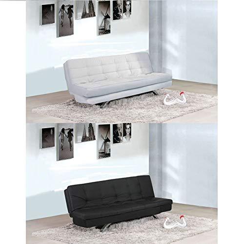 Eleonora - Sofá cama reclinable de 192 x 87 cm, de piel sintética de color blanco o negro