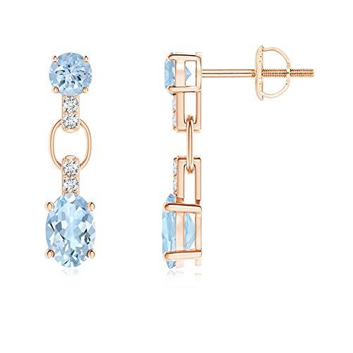 Orecchini pendenti con acquamarina rotonda e ovale con diamanti (acquamarina 6 x 4 mm) e Oro rosa, cod. ANG-E-SE0112AQD-RG-AA-6x4