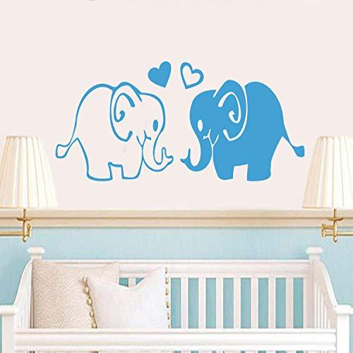Geiqianjiumai muurstickers met hartvormige motieven van de schattige olifanten van de familie babykinderkamer-schattige vinylwanddecoratie