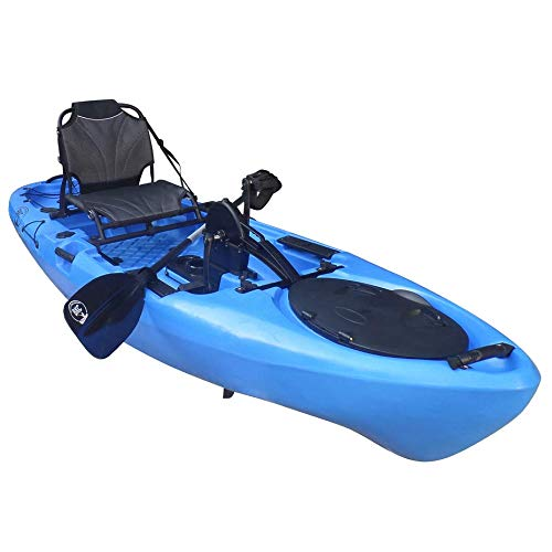 BKC PK11 Angler 10.5-Foot Sit On Top Solo Fishing Kayak w/Instant Reverse Pedal Drive, Hand Control Rudder, Paddle, and Upright Seat (Green Camo)