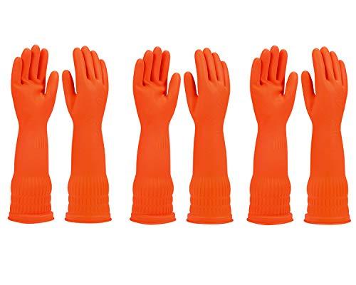 Gummihandschuhe für die Küche, 3 Paar, wasserdicht, wiederverwendbar (orange, klein)