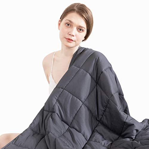 Beauty Kate Weighted Blanket Adult 15 lbs 60''x80'' Queen Size, 100% Organic Cotton with Glass Beads, Heavy Blanket for Better Sleep, Grey