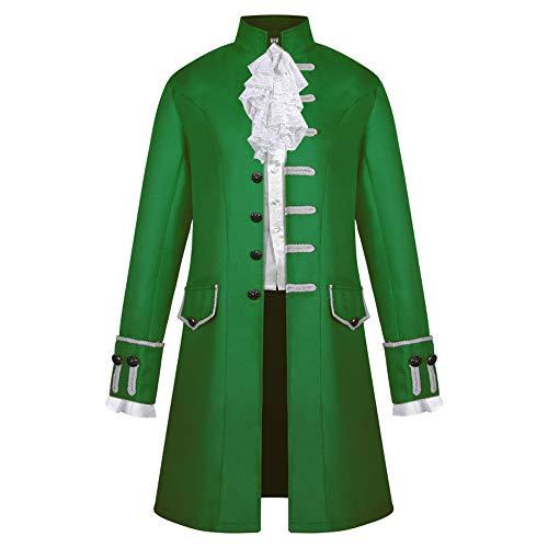 VERNASSA Botón de los Hombres Moda Steampunk Chaqueta de Abrigo Vintage Chaqueta de Uniforme gótico, Chaqueta Medieval Victoriana Abrigos de Traje de Pirata