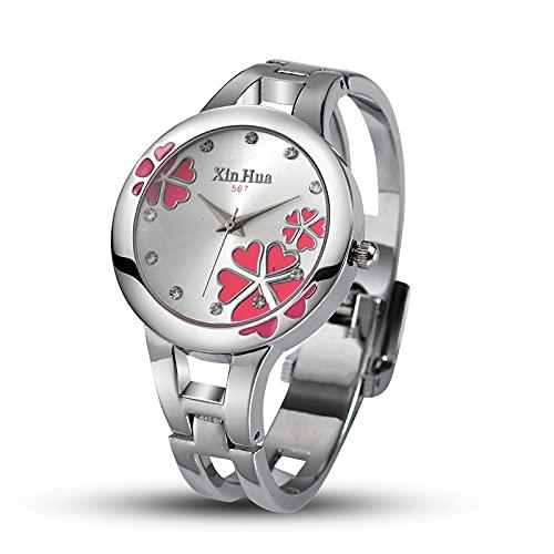 Msltely Relojes para Mujer Reloj de la Pulsera de la Moda de Cuarzo Relojes de Las Mujeres (Color : Pink)