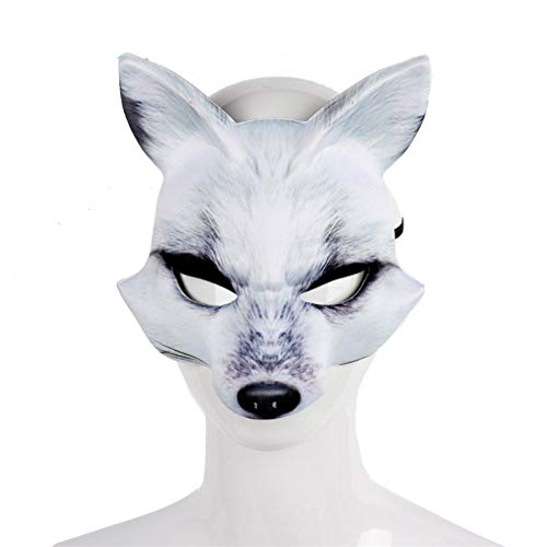QNFNB Weiß Fuchs Maske Tier Halloween-Stütze Eva Halbe Kopfbedeckung