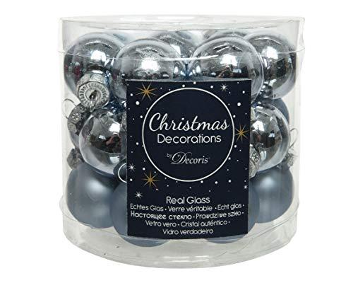 Christmas-Decorations 24 Mini - Weihnachtskugeln Glas 25mm Eisblau Hellblau