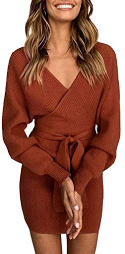 Socluer Strickkleider Damen Vintage Kleider Etuikleid Pulloverkleider Partykleider Abendkleid V-Ausschnitt Elegant Minikleid mit Gürtel