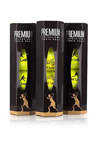 Pelota prémium con logotipo de cliente, pelota de tenis personalizada, 3 latas de 4 pelotas cada una, pelota para profesionales, torneos y clubes de tenis
