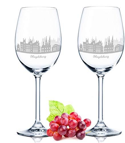 Leonardo Weinglas mit Gravur - Magdeburg Geschenk im 2er Set - Weingeschenk - Souvenir Andenken & Mitbringsel - Geburtstagsgeschenk für Sie & Ihn