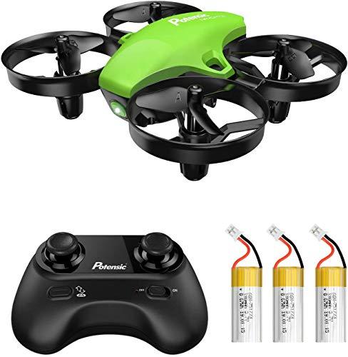 Potensic Mini Drone RC Helicopter Quadcopter para Niños y Principiantes con Control Remoto, Modo sin Cabeza, Altitude Hold, 3 Modos de Velocidad, 3 Baterías, A20 Verde