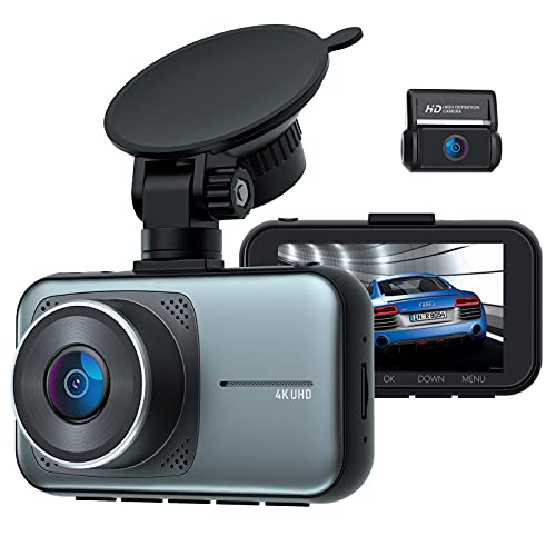 4K Dash Cam for Cars, Dual Dash Cam with Ultra HD 4K Front and 1080P Rear Camera, Supercapacitor 3 inch Display Dash Camera with Hardwire Kit 24/7 Parking Mode G-Sensor Lock