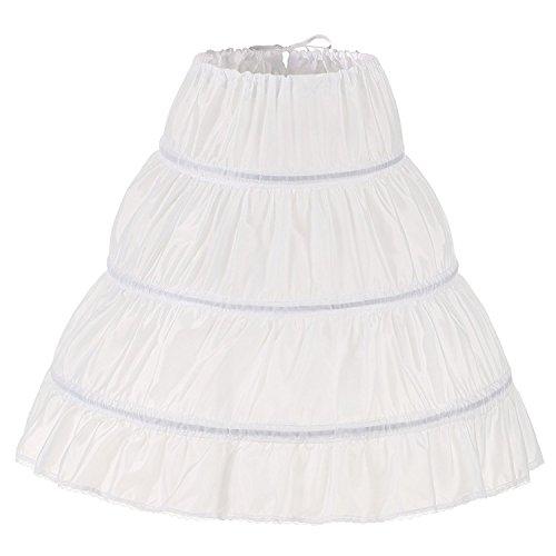 Noriviiq Kinder Reifrock A Linie 3 Ringe Petticoat Unterrock Mädchen Lang Prinzessin Kleid Halb Slip (Weiß)