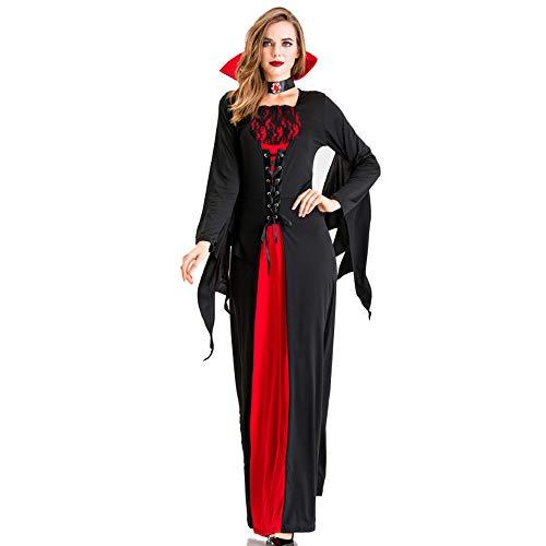 ZSTY vrouwen klassieke vampier kostuum, halloween koningin jurk vampier kostuum Pasen volwassen vrouw vampier duivel kostuum