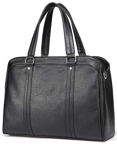 Laptop Bag for Women, VASCHY PU Leather Tote Bag Ladies Work Bag Fits 15.6 inch Laptop Business Shoulder Bag with Detachable Long Shoulder Strap (63-Black)