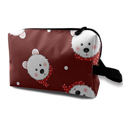 Weißer Bär mit rotem Schal Tupfen auf roten tragbaren Reisekosmetiktaschen Make-up-Organizer-Taschen Toilettenpapier-Organizer-Taschen mit großer Kapazität Reisetasche Geldbörse