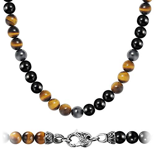 WESTMIAJW Mens Magnetic Hematite Tiger Eye Onyx Beads Beaded Necklace Chain Natural Gemstones Jewellery 60cm