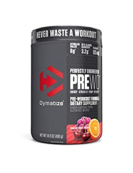 Dymatize PreW.O Pre Workout Powder with Caffeine Maximize Energy Strength & Endurance Amplify Intensity of Workouts Chilled Fruit Fusion 400g