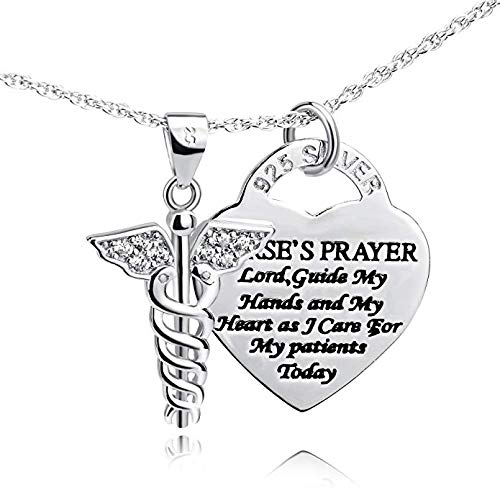 YFN Sterling Silver Caduceus Angel Nursing Themed Pendant Necklace Jewellery Gifts for Women Girls 18' (Nurse Necklace) …