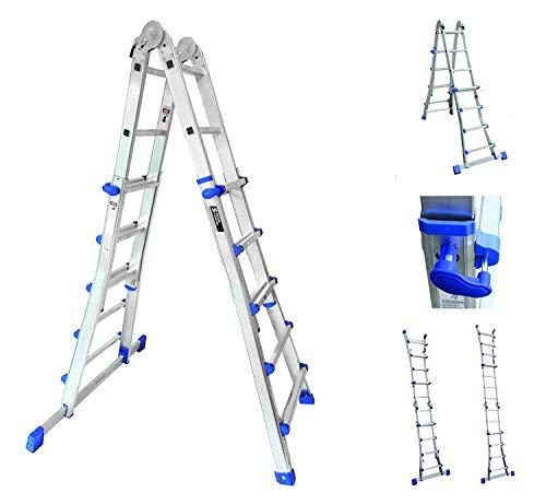 Sistema de combinación de escaleras de mano, multifuncional, telescópico, 4x 5peldaños; escalera de extensión de 4,7m