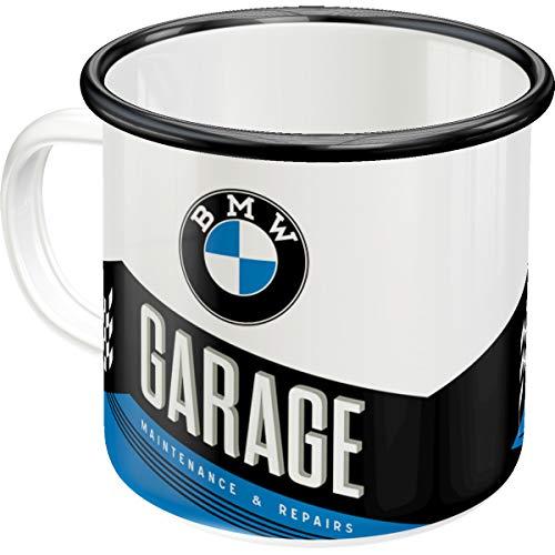 Nostalgic-Art 43216 Retro Emaille-Becher BMW – Garage – Geschenk-Idee für Auto- und Motorrad-Zubehör Fans, Camping-Tasse, 360 milliliters, Vintage Design