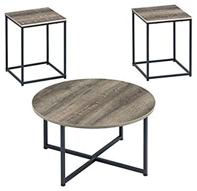 Signature Design by Ashley - Wadeworth Distressed Occasional Table Set of 3, Brown/Black Wood