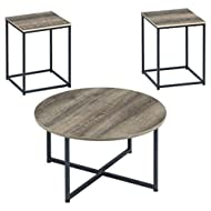 Signature Design by Ashley Wadeworth Urban Wood Grain 3-Piece Table Set, Includes 1 Coffee Table and 2 End Tables, Brown & Black