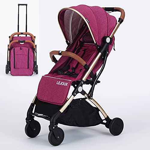 Baby Pushchair Stroller– Lightweight Foldable Travel Buggy with 5-Point Harness, Adjustable Seat Back and Oversize Basket Folds with 1 Hand – Smooth Swivel Wheels Rain Cover (Pink)