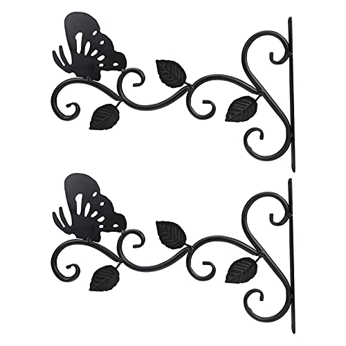 GJCrafts Soportes Colgar Pared Gancho Hierro Forjado Soporte Planta Montado Pared Tornillos Forma Mariposa Decoración Jardinería Resistente Linternas Jardinera 2 Piezas 11.8 Pulgadas Negro
