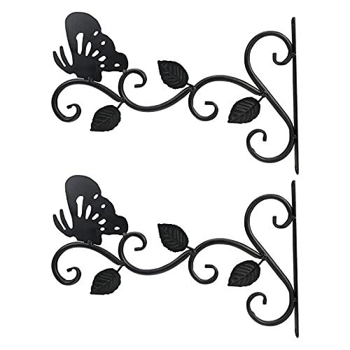 Colgador de macetas de hierro forjado de 2 piezas, soporte de planta montado en la pared, balcón de jardín, colgador de mariposa decorativo para exteriores, comedero para pájaros, canasta de flores