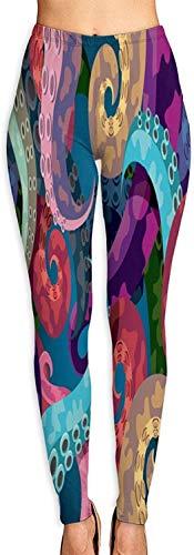 MODORSAN Colorido Abstracto Pulpo Kraken Yoga para Mujer Entrenamiento Correr Biker Mallas elásticas Leggings con Estampado Suave