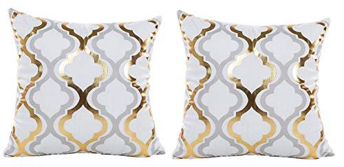 Due federe cuscino divano 40x40 cm - fantasia - cuscino decorativo quadrato - stampa oro e argento - biancheria - camera da letto - casa retro - vintage - idea regalo originale - colore bianco