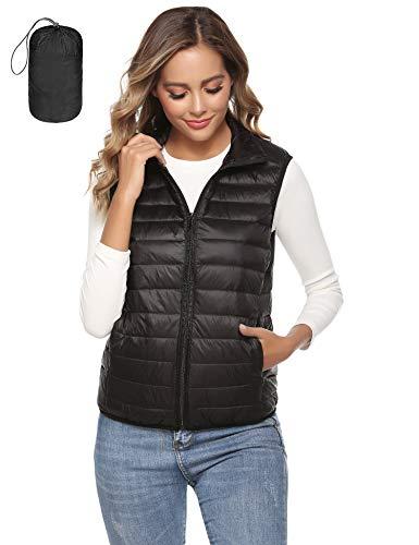 Aibrou Damesvest met opstaande kraag bodywarmer doorgestikt vest outdoorvest ultralicht wintervest met mouwloos