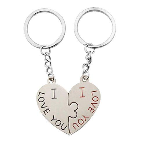 I Love You Design Paar Paar Schlüsselanhänger mit Herz Anhänger - Silberton, Damen, Einheitsgröße