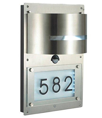 BALDUR-Garten GmbH Edelstahl Wandlampe mit Hausnummer & Bewegungsmelder,1 Stück