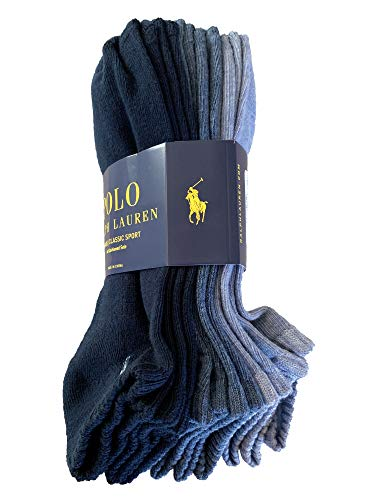 Polo Ralph Lauren Mens NO Show Socks (Size 6-12) (Navy Blue)