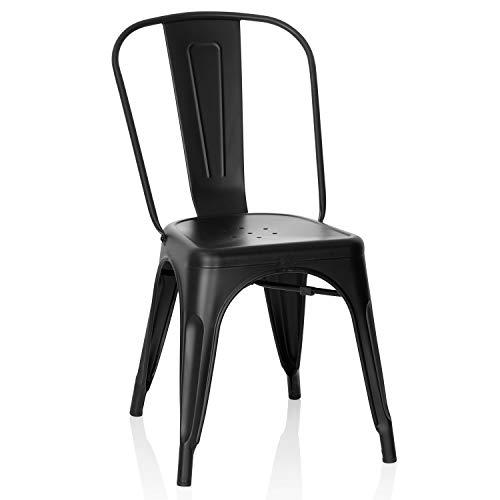 hjh OFFICE 645038 Bistrostuhl VANTAGGIO Brush Metall Matt Schwarz Bistro Stuhl im Industry-Design, stapelbar