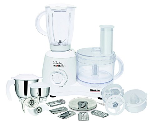 Inalsa Food Processor Wonder Maxie Plus V2 700 - Watt with Blender Jar, Dry Grinding Jar, Chutney...