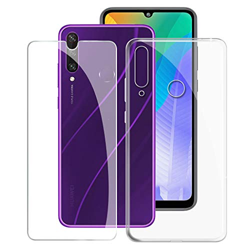ZXLZKQ Fundas + Protector Cristal Templado para Huawei Y6P (6.30 Pulgadas), Transparente Case Silicona Suave Caso TPU Carcasa,Vidrio Película Protectora - Transparente