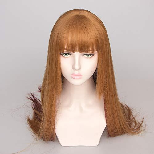 Rubia larga con flecos rectos peluca resistente Peluca barata 130% de alta...